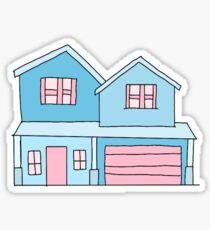 cute blue suburban house Sticker
