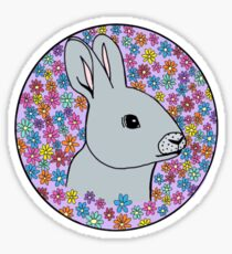 cute bunny with flower background Sticker