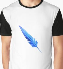 Handcrafted Blue Feather Graphic T-Shirt
