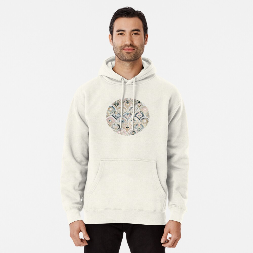 Art Deco Marble Tiles in Soft Pastels Pullover Hoodie