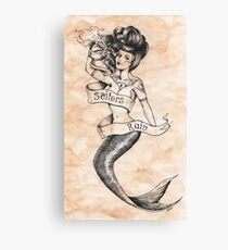 Sailors Ruin, Vintage mermaid tattoo style Canvas Print