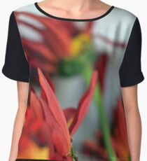 Natural composition with red petals. Women's Chiffon Top