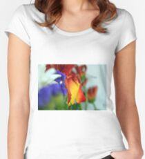 Close up on flower petals. Women's Fitted Scoop T-Shirt