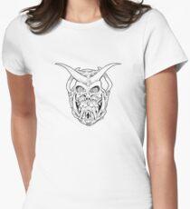 Horned Skull (black) Women's Fitted T-Shirt