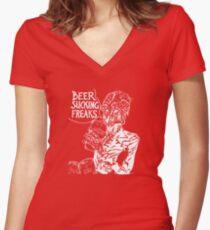 Beer Sucking Freaks (white) Women's Fitted V-Neck T-Shirt