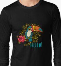Bird Toucan tropical hibiscus flower in cartoon style.  T-Shirt