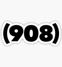 (908) black Sticker