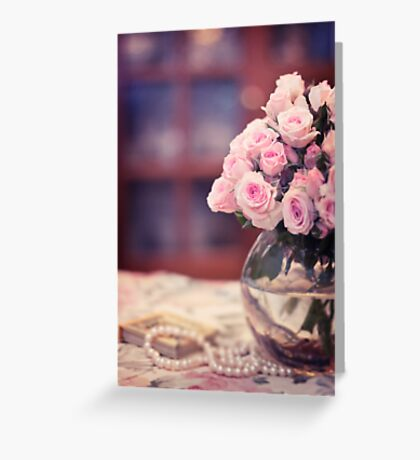 Still Life with Tea Roses Greeting Card