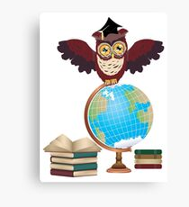 Owl with Globe 2 Canvas Print