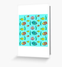 marine fish for a blue background Greeting Card