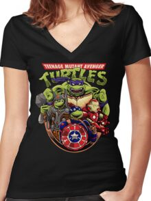 Avenger Turtles Women's Fitted V-Neck T-Shirt