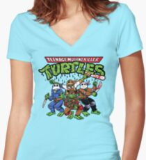 Killer Turtles Women's Fitted V-Neck T-Shirt