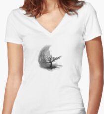 Sumi e sakura tree Women's Fitted V-Neck T-Shirt