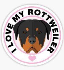 Love My Rottweiler Dog Sticker