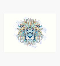 Ethnic Blue Lion Art Print