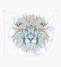 Ethnic Blue Lion Wall Tapestry