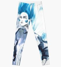 Fashion girl in sketch-style.watercolor illustration. Leggings
