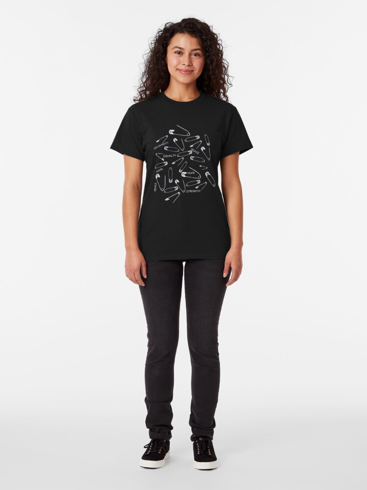 Alternate view of Safe with me safety pins on black with activist slogans Classic T-Shirt