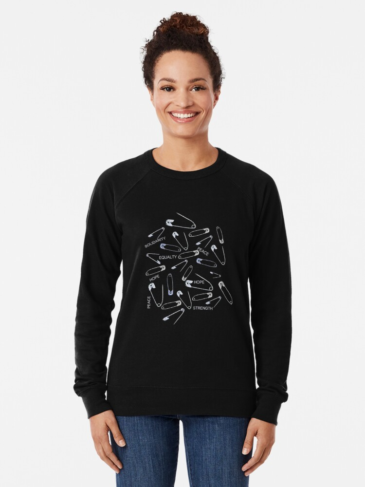 Alternate view of Safe with me safety pins on black with activist slogans Lightweight Sweatshirt