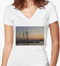 Climbing the Rigging - Sailors Silhouettes at the Hudson River Waterfront, New York City Women's Fitted V-Neck T-Shirt