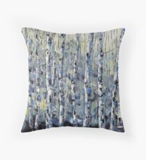 Winter Birch lll by Lisa Elley. Palette knife painting in oil Throw Pillow