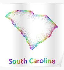 Rainbow South Carolina map Poster