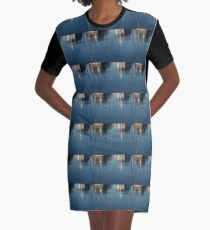 Young Red-Necked Grebe on Silver Graphic T-Shirt Dress