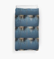Young Red-Necked Grebe on Silver Duvet Cover