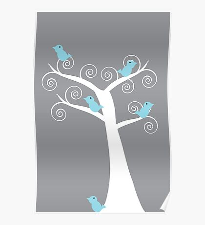 5 Blue Birds (Gray Background) Poster