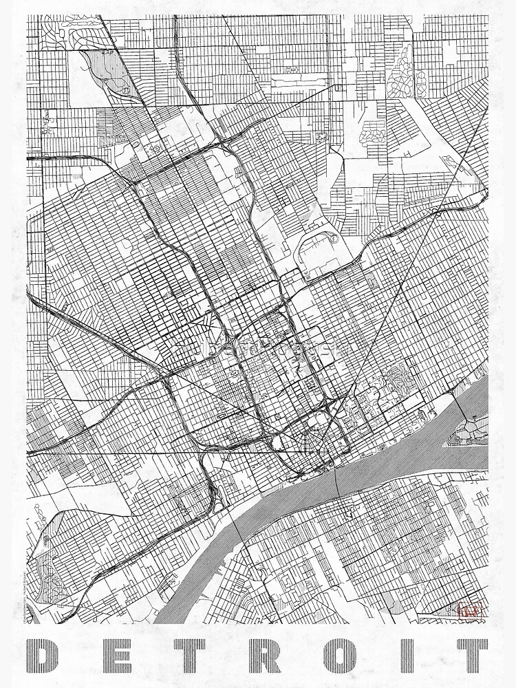 Detroit Map Line by HubertRoguski