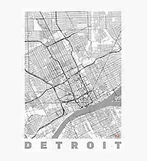 Detroit Map Line Photographic Print