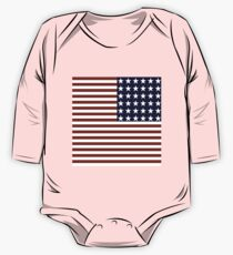 Red White Blue Stars Stripes US Flag One Piece - Long Sleeve