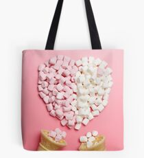Marshmallows heart and ice-cream cones Tote Bag