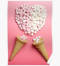 Marshmallows heart and ice-cream cones Poster