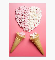 Marshmallows heart and ice-cream cones Photographic Print