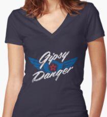 Gipsy Danger Distressed Logo in White Women's Fitted V-Neck T-Shirt