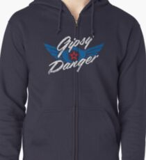 Gipsy Danger Distressed Logo in White Zipped Hoodie