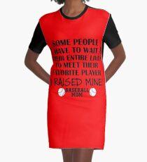 Baseball Mom - I raised my favorite player (Black print) Graphic T-Shirt Dress