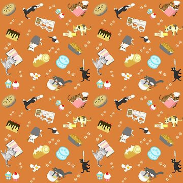 Cats Baking Cakes and other Sweets, in Orange by ninniku