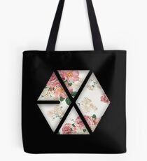EXO Black Floral Tote Bag