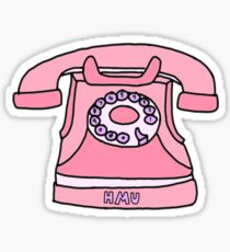 pink hit me up old fashioned phone Sticker