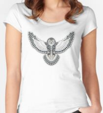 Beadwork Snowy Owl Fitted Scoop T-Shirt