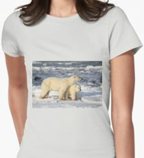 Standing Guard Over Her Cub, Churchill, Canada  Women's Fitted T-Shirt