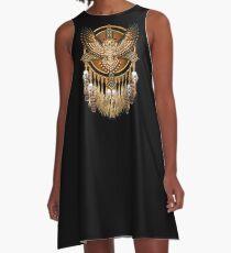 Native American Beadwork Owl Mandala A-Line Dress