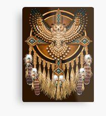 Indianische Beadwork Owl Mandala Metallbild
