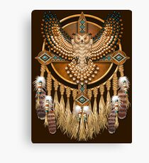 Native American Beadwork Owl Mandala Canvas Print