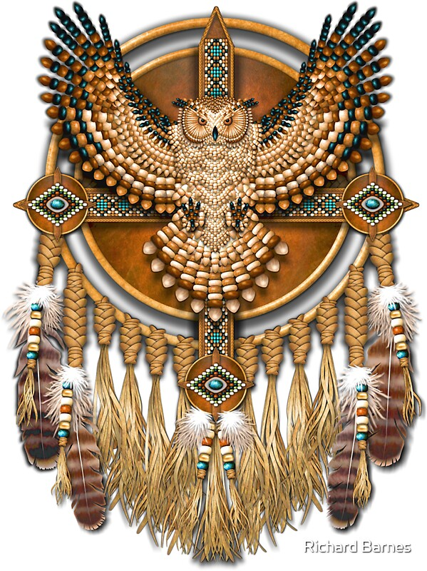Quot Native American Beadwork Owl Mandala Quot Stickers By Ricky