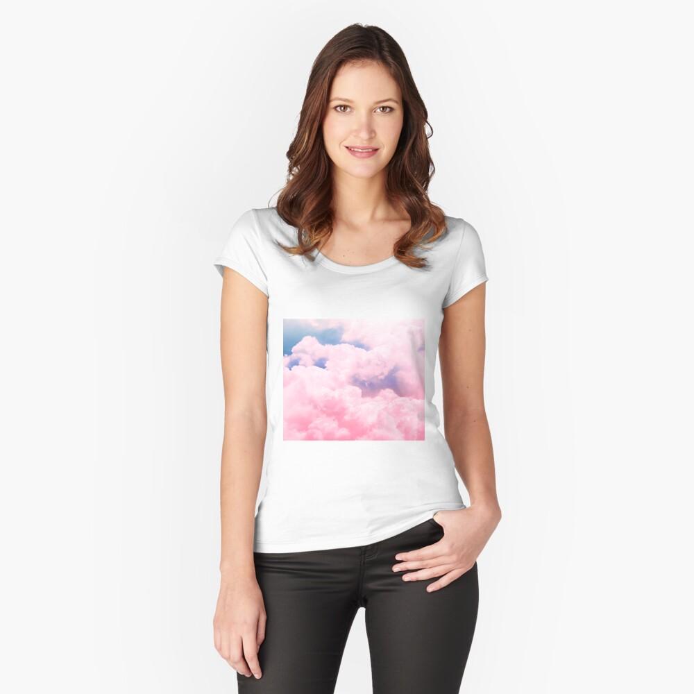 Süßigkeiten Himmel Tailliertes Rundhals-Shirt