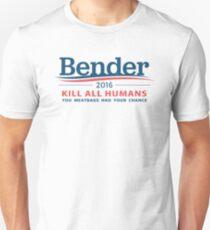 """Bender 2016 """"Kill All Humans"""" White Unisex T-Shirt"""