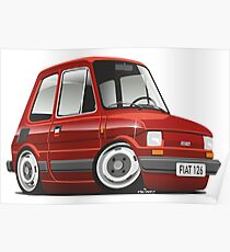 Fiat 126 caricature red Poster